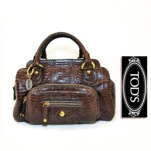 TOD'S Brown Leather Carry Tote Bag Croc Embossed